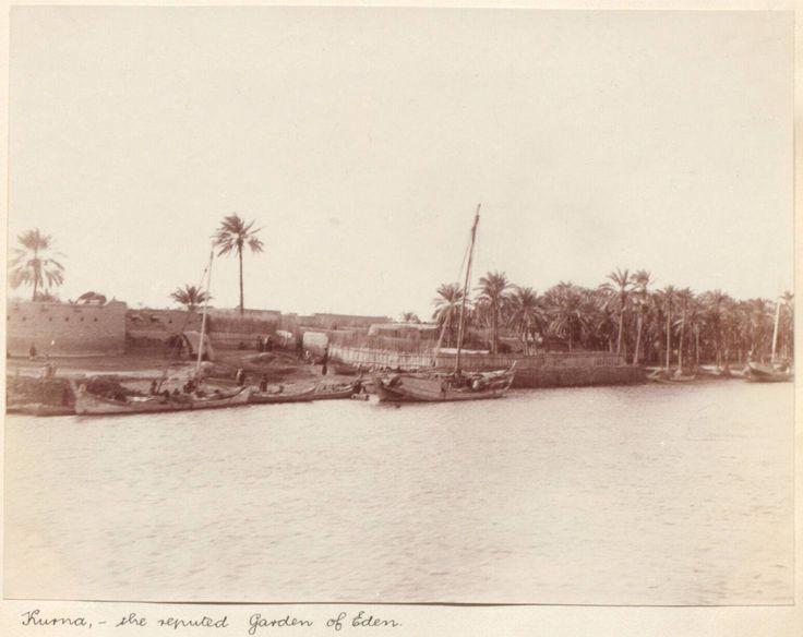 مدينة القرنة في البصرة 1906 يكتب ضابط الاستخبارات البريطاني ويلفرد ميلسون اسفل الصورة جنة عدن Iraq Historical Pictures Baghdad