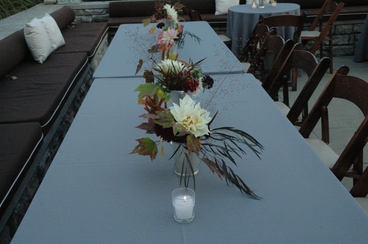 Autumnal centerpieces in mint julep cups and silver goblets, with dahlias, autumn leaves and others from Turnbull Creek Farm