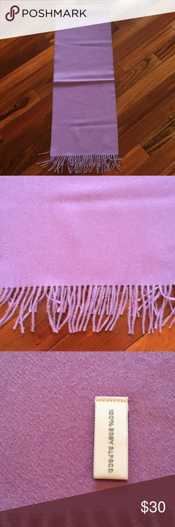 """100% Baby Alpaca scarf 🧣 Beautiful lilac color Baby Alpaca scarf 🧣. Never used. About 67""""L 12"""" W. Made in Peru. Excellent perfect condition. Accessories Scarves & Wraps"""