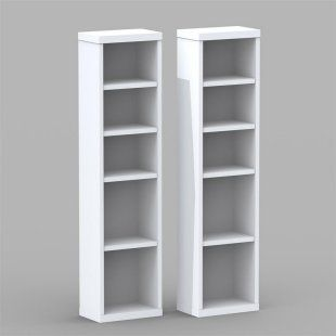 Nexera Liber-T Modular Design Your Own Storage and Entertainment System - CD/DVD Storage Towers - Set of 2 - White