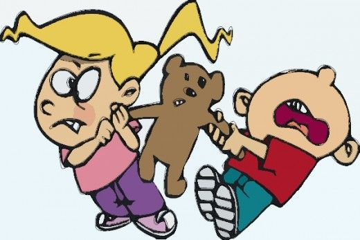 Cartoon Kids Fighting Over A Teddy bear Ideas For The