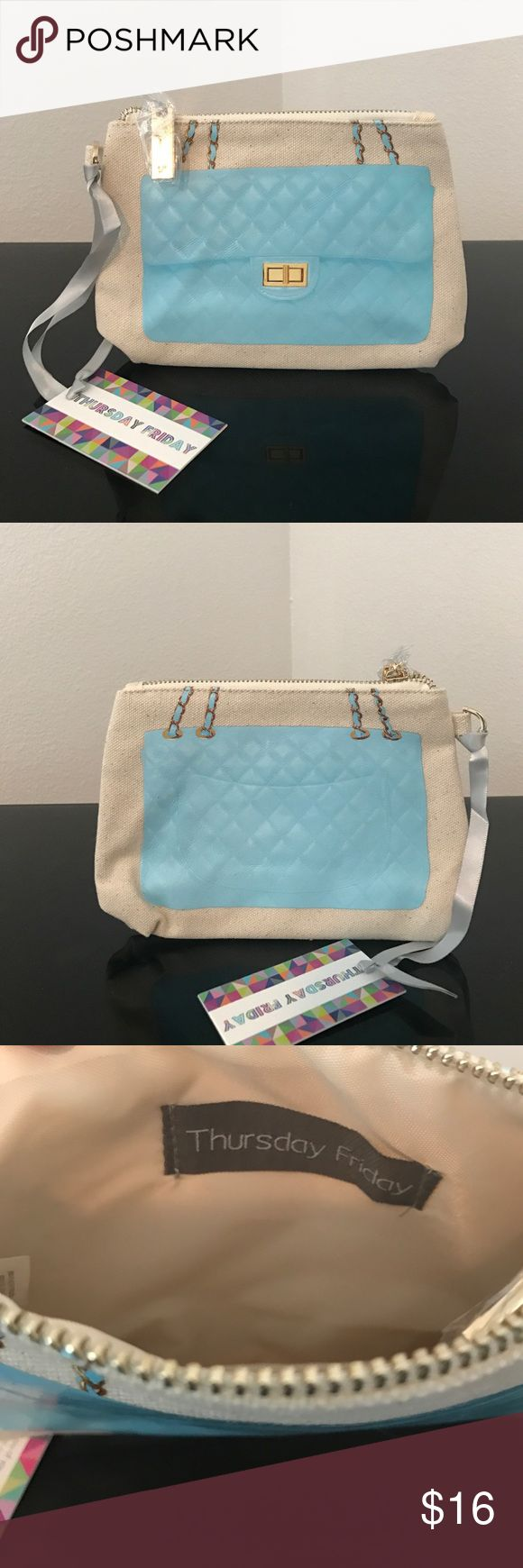 NWT Thursday Friday Clutch New with tags Thursday Friday canvas clutch with light blue Chanel inspired design. Thursday Friday Bags Clutches & Wristlets