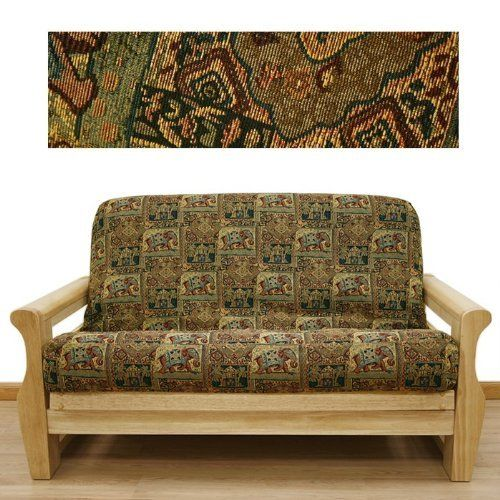 Bombay Futon Cover Twin 618 by SlipcoverShop. $55.00. See Sizing and Product Description below. In Stock - Ships within 2 days. Made in USA.. Made to fit Twin size futon mattress measuring 39 inches wide, 75 inches long and up to 8 inches thick. Futon cover features 3 sided, concealed zipper construction. Made in USA. Bombay fabric offers mesmerizing Asian tapestry in wonderful color scheme. Depicting elephants, temples, etc. This great cover lets you escape to far away land with...