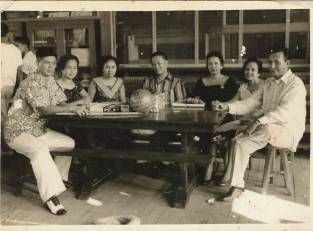 Taken in 1957 at a reunion of class '32 of Cavite Highschool. Bernardo S.Rojas is seated at the middle wearing stripe polo shirt and surrounded by classmates.