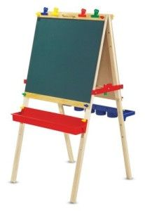 Melissa And Doug Toys: Deluxe Standing Easel Colorful, kid friendly and easy to put together. Both the writing boards and the trays are adjustable for the height of your child. It folds up easy. The butcher paper roll goes in the center between the boards and the paper comes up through the top and under a paper guide in front of the dry erase side. http://awsomegadgetsandtoysforgirlsandboys.com/melissa-and-doug-toys/ Melissa And Doug Toys: Deluxe Standing Easel