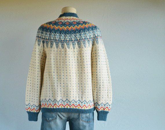 Vintage Nordic Wool Fair Isle Cardigan / 60s Hand by zestvintage