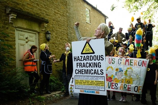Vivienne Westwood and fellow protesters assemble outside the constituency home of David Cameron in Chadlington, Oxfordshire.