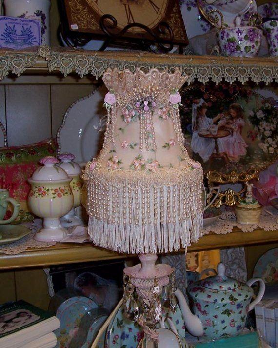 239 best romanticshabby shic and vintage lampshades images on romantic shabby chic cottage lampshade by mysilkywoods on etsy 3400 aloadofball Gallery