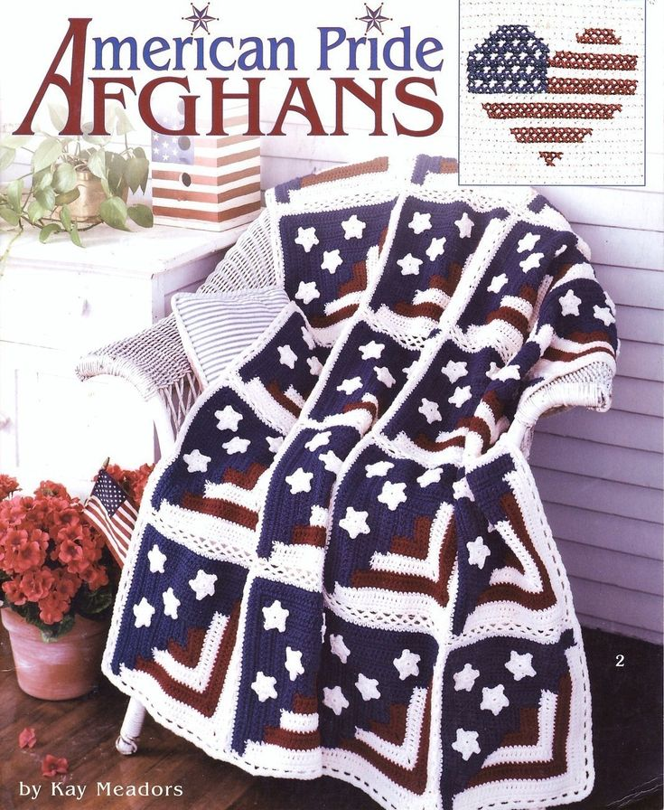 American Pride Afghans Crochet Patterns Book Blankets Throw Americana 6 Designs