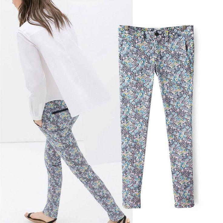 2014 Новая Европа и Америка потратить брюки карандаш повседневные брюки женские ноги женские цветочный принт обтягивающих брюках, брюки прит ...