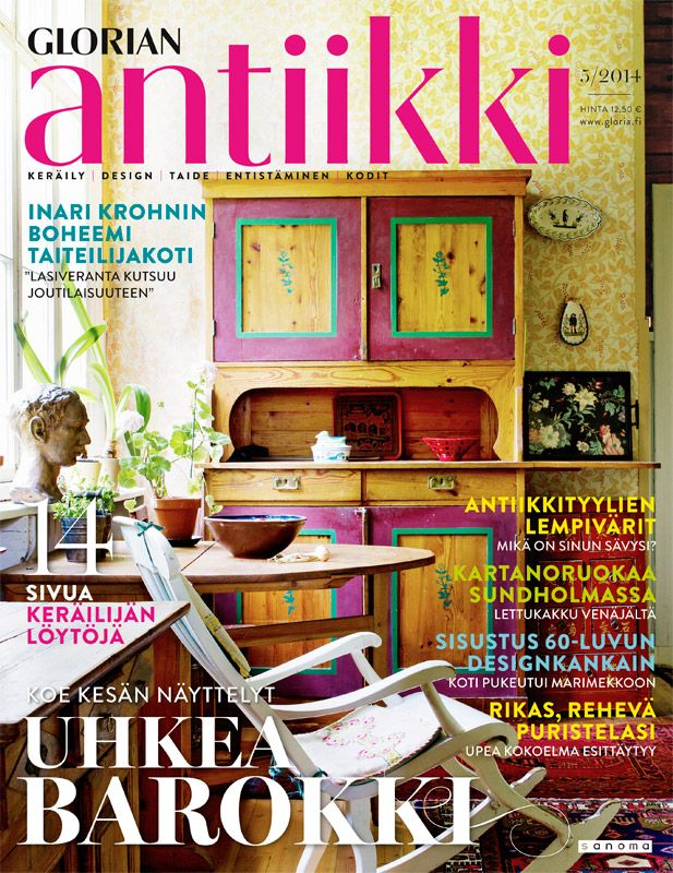 Magazine cover 5/2014. Lovely country home of Finnish artist Inari Krohn. Photo Riitta Sourander.