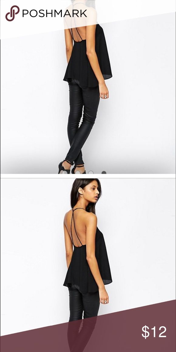ASOS Backless Cami Top with Plunge Neck Loose fitting spaghetti top in black ASOS Tops Tank Tops