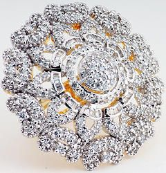 Hand-crafted designer ring finely studded with  cubic zirconia (American diamond) stones