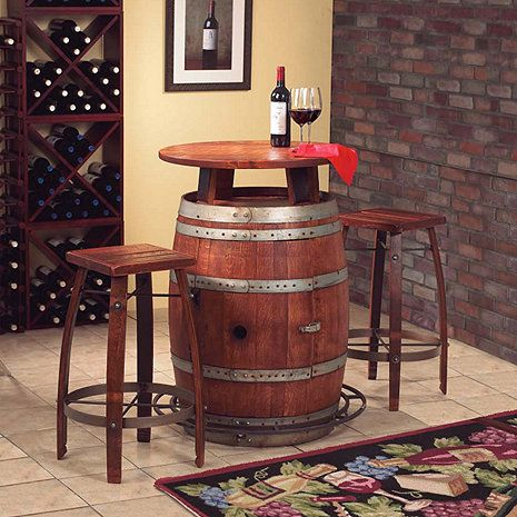 Vintage Oak Wine Barrel Bistro Table u0026 Bar Stools : wine barrel table and stools - islam-shia.org