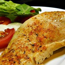 Simple Baked Chicken Breasts: subbed italian for the creole seasoning. Chicken was tender and juicy. Will use it again :) 400 degrees 10min one side and flip for 15min on other