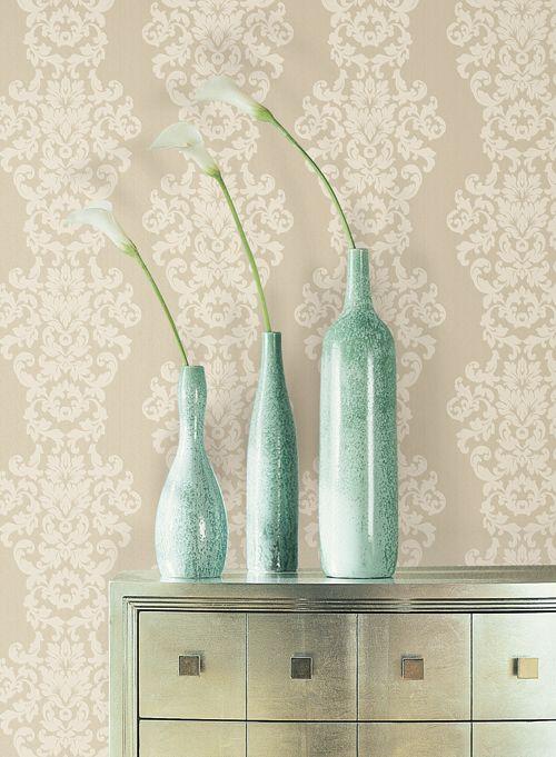 Wallpaper damasc, Vase, decor