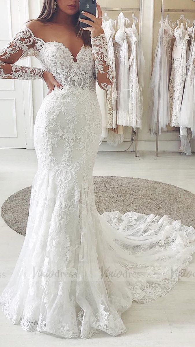 Off The Shoulder Lace Long Sleeve Mermaid Wedding Dresses Vw1315 Long Sleeve Mermaid Wedding Dress Long Sleeve Wedding Dress Lace Mermaid Boho Wedding Dress Lace [ 1200 x 675 Pixel ]