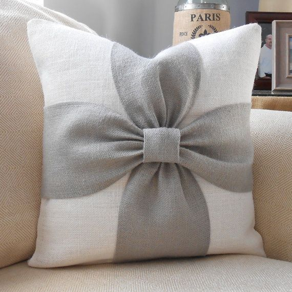 Burlap bow pillow cover in grey and off white by LowCountryHome