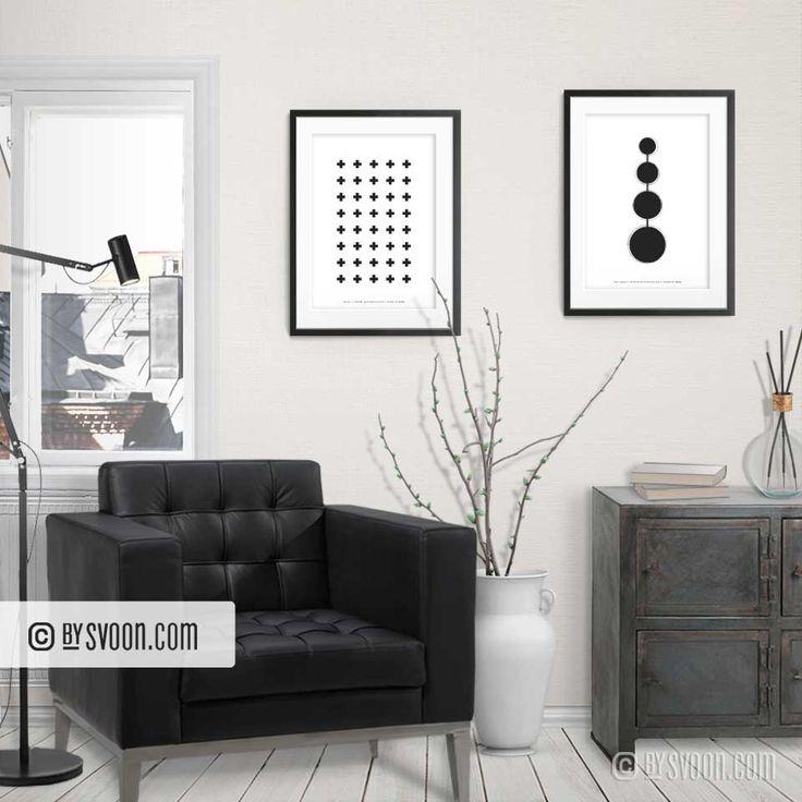 Crosses - Four Circles | Printable Wall Art - Minimal Design