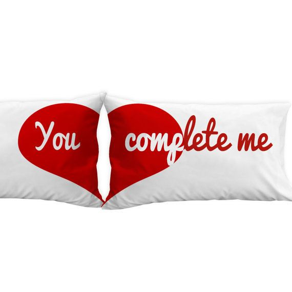 Valentines Gift Idea Heart Pillowcases - You complete me, for him, for her, for husband, for wife, for man, for woman. for a couple. on Etsy, $25.00