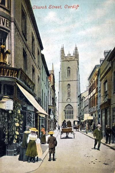 Early 20th century postcard of Church Street, in Cardiff - or Caerdydd in Welsh - the capital and largest city of Wales, with just over one million inhabitants, or more than one third of Wales's population, living in the metropolitan area. It is the seat of the National Assembly for Wales and an important business, cultural, sporting and tourism center. The capital of Wales since 1955.