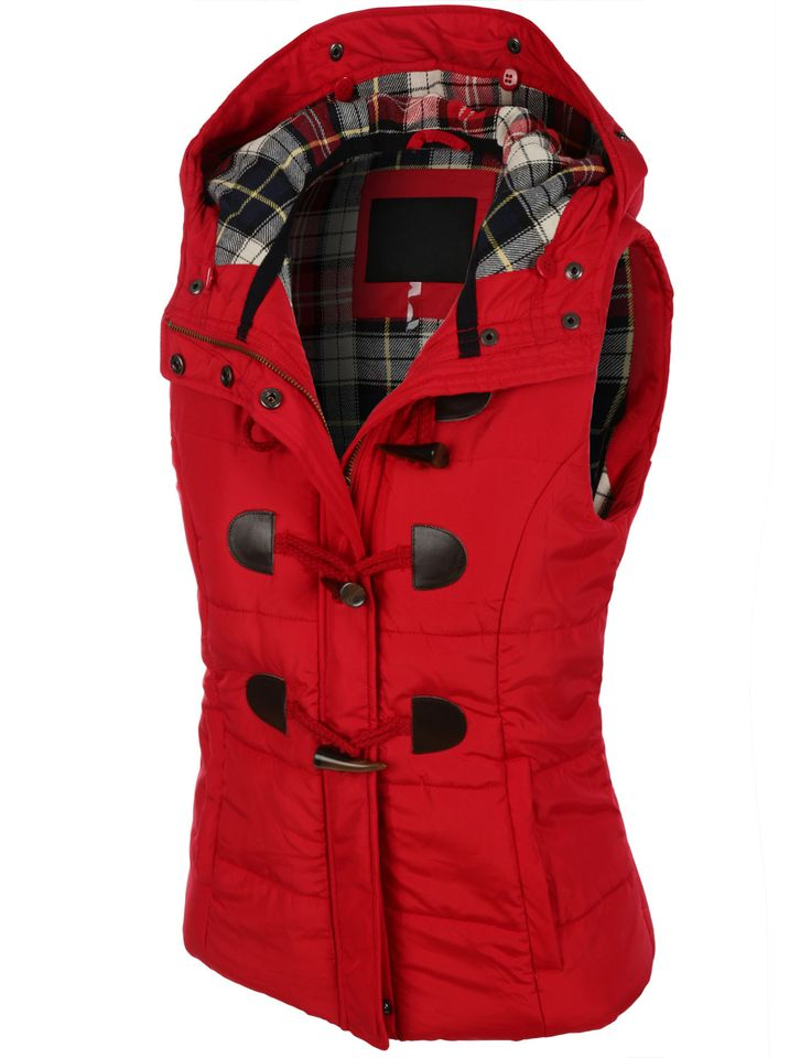 LE3NO Womens Classic Toggle Padded Puffer Jacket Vest with Faux Fur Trim  Hood bb23631bed