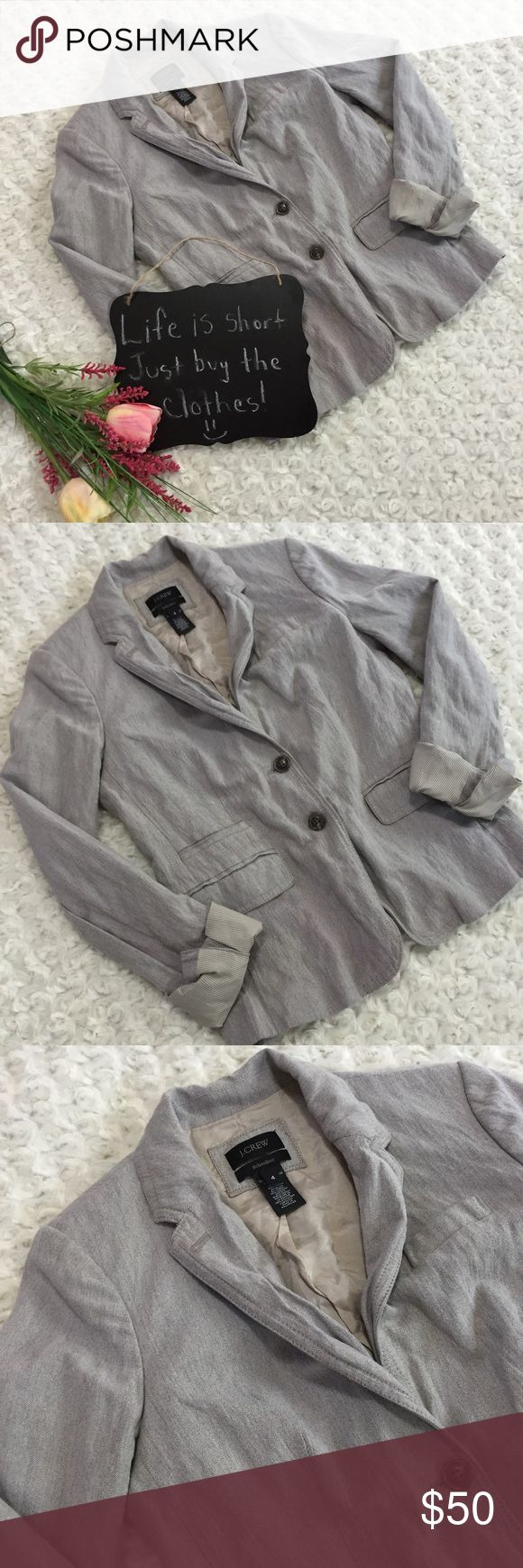"J Crew Schoolboy blazer Gray J Crew Schoolboy blazer. Very very cute!!!!! In excellent condition. Size 4. 17.5"" arm pit to arm pit. 23.5"" length. J. Crew Jackets & Coats Blazers"