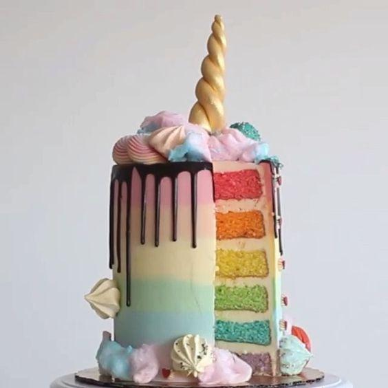 LOVE!!  Rainbows, metallics and unicorns - the perfect kids birthday cake!