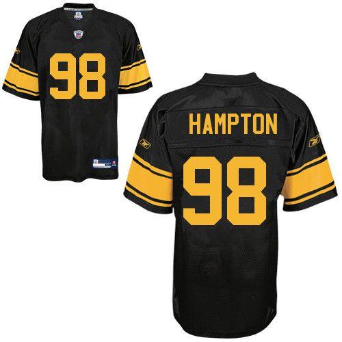 Reebok Pittsburgh Steelers Casey Hampton 98 Authentic Black Jerseys Sale