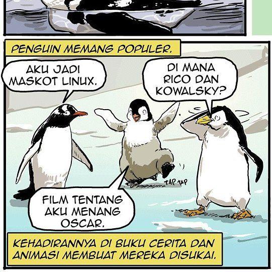 Sebuah restoran di Jakarta memajang penguin hidup di akuarium. Pecinta satwa pun memprotesnya. Eh kalian bisa tebak penguin-penguin pada gambar ini spesies apa dan muncul di mana saja? Baca selengkapnya di kanal kartun Beritagar.id. #komik #beritagarid #penguin