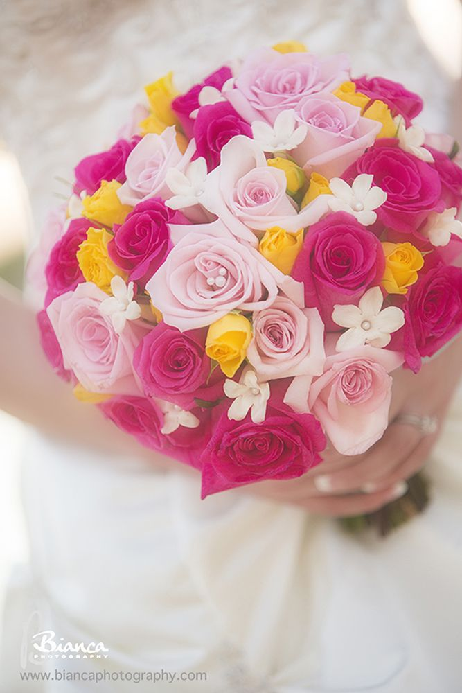 We spy a Hidden Mickey in this beautiful rose bouquet #pink #yellow #flowers