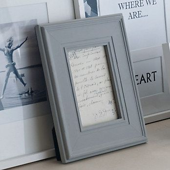 Wide Wooden Photo Frame 5x7 - Grey | The White Company