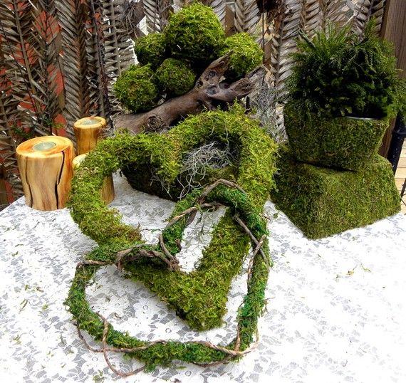 Moss Hearts for Garden Wedding Theme
