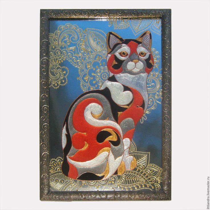 Купить Уругвайская кошка Витражная роспись по стеклу - украшение интерьера, эксклюзивный подарок