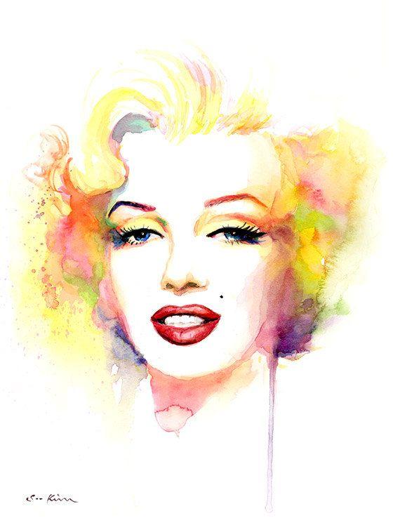 Marilyn Monroe Watercolor Painting Print Yellow от sookimstudio