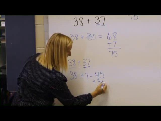 Classroom Number Talk: Grade 3   38 + 37 using different strategies