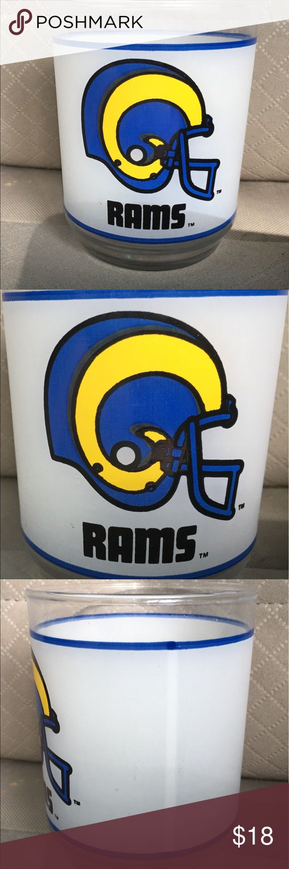 "Vintage mobil gas LA Rams 4""X3"" drinking glass Thank you for viewing my listing, for sale is an original, vintage, mobile gasoline, NFL drinking glass. This is from the 1980s. And features the Los Angeles Rams  Measures appx 4"" tall by 3"" wide  If you have any questions or would like additional photos please feel free to ask. mobil Accessories"