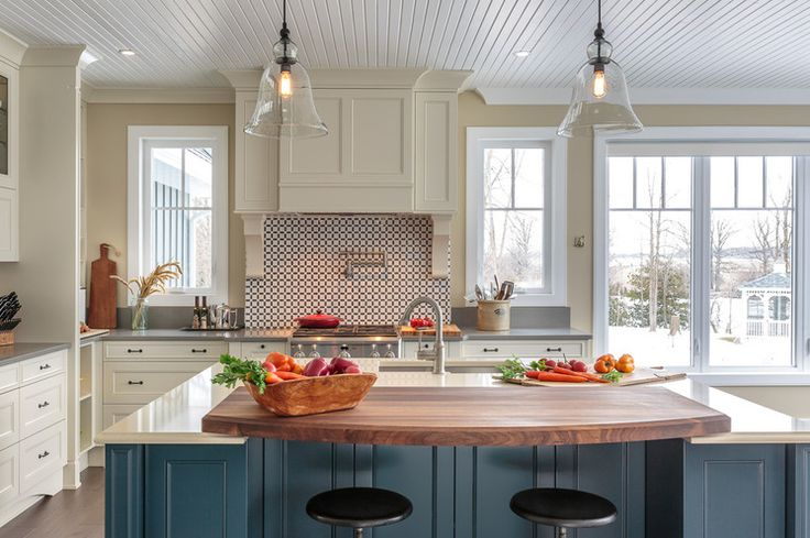 Butcher Block Eating Area Overlapping Quartz Counters And