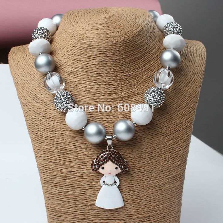 Chunky Beads Necklace Cute Princess Pendant Chunky Bubblegum Necklace for Girls Kids Jewelry
