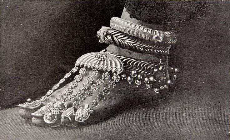 Silver anklets, toe rings and ornaments, India.