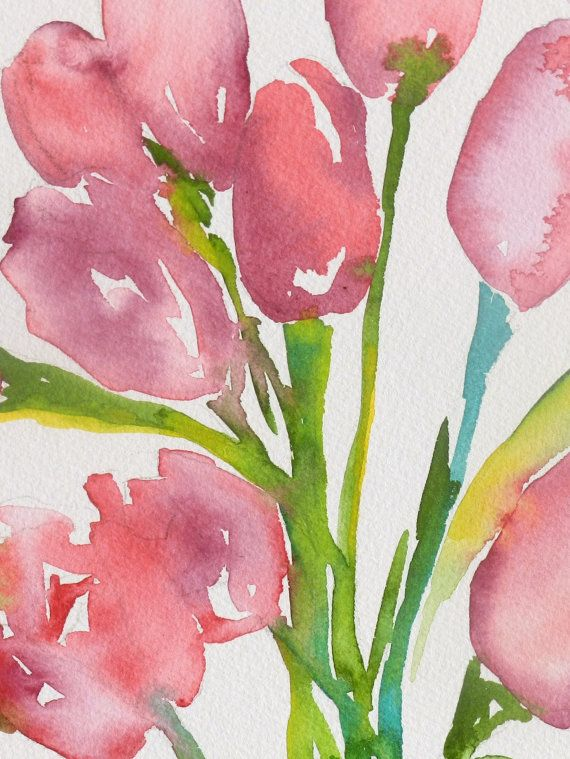 Tulip Watercolor Painting of Tulips Tulips Flowers Floral