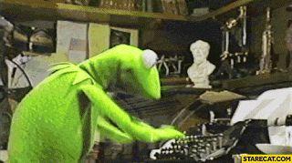 Kermit Typing on a Typewriter