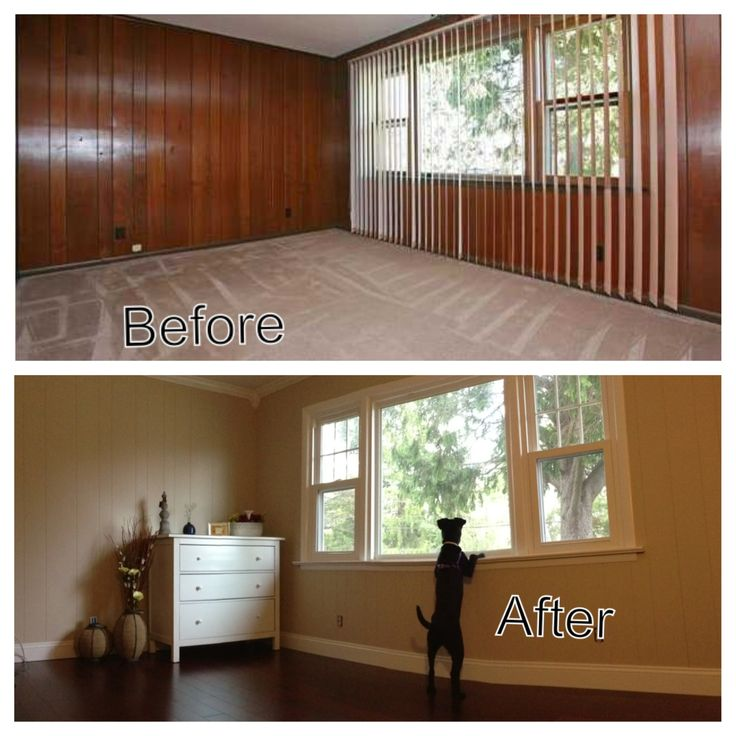 Before after diy home renovation take out those ugly wood panels home pinterest Cheap wood paint