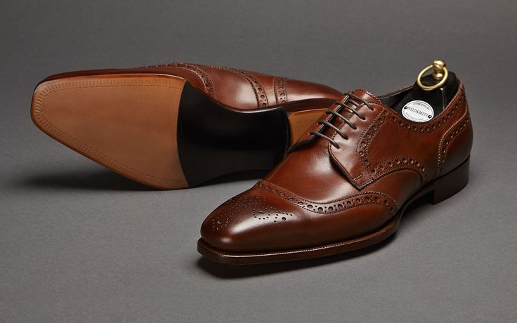 Covent Derby Mens Brown Leather Lace Up Brogue Shoe, Wildsmith Luxury Shoes