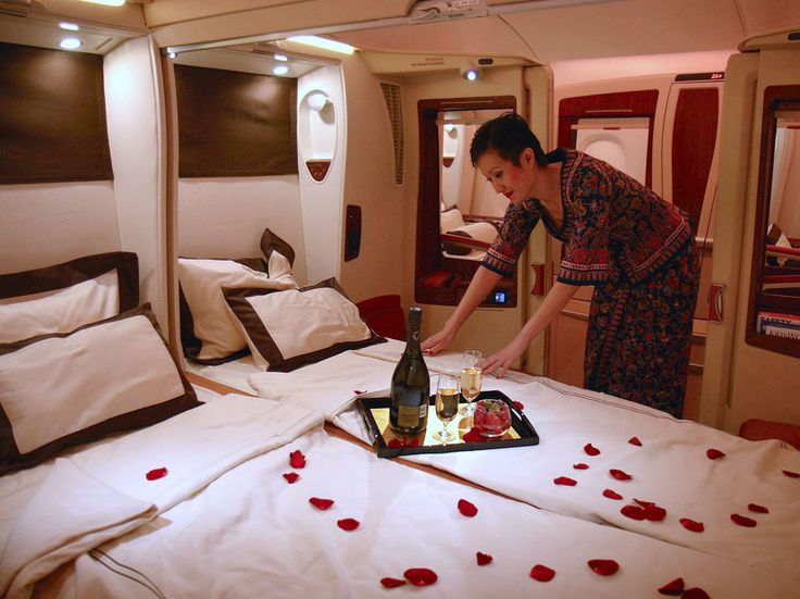 Singapore Airlines is the first and only commercial airline with the ability to take an adjacent suite and turn the space into a double bed. Amenities: Gourmet menu and wine list, Givenchy tableware, 23-inch LCD screen (with video-on-demand), and turndown service.