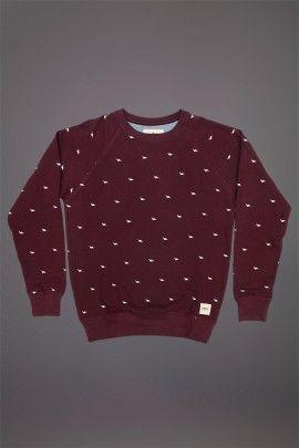 WEMOTO DINOSAUR SWEATSHIRT BURGUNDY  WEMOTO A/W 14. 100% cotton sweatshirt with screen printed design.  http://www.abandonshipapparel.com/product/wemoto-dinosaur-sweatshirt-burgundy/