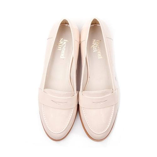 Beyond Skin Kate round toe flat vegan loafer court shoe made from cream nude faux patent synthetic non leather 100% Vegan, vegetarian and cruelty-free.