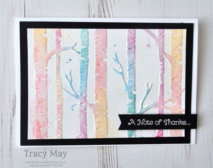 Woodland TIEF by Stampin' Up! using watercolour pencils. Come and check out my watercolour birches cheat for the GDP Tree themed challenge #GDP067
