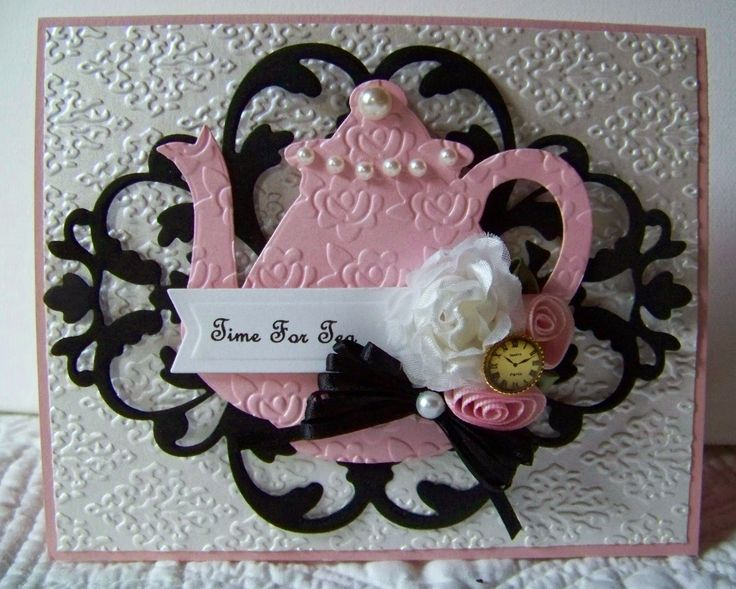 8/11/2014; Diane at 'Nellies Nest' blog; Paper Sweeties' Tea for Two teapot die; Anna Griffin Flourish Medallion die; I love everything about this card: design, color, use of EFs