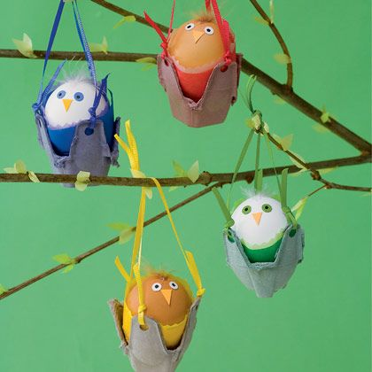 """cute!  Rock-a-bye Birdies   """"For an Easter decoration your family will flock to, dangle a bunch of these little swingers."""""""